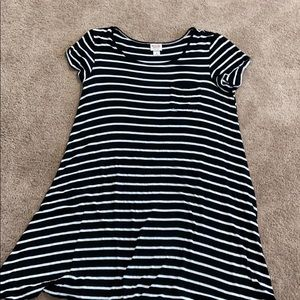 Striped casual dress with front pocket